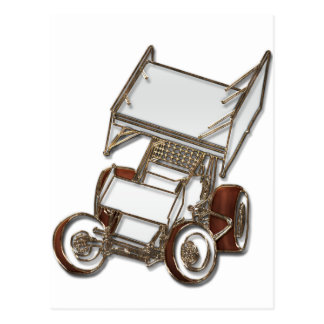 Winged Sprint Car White Colored Postcard