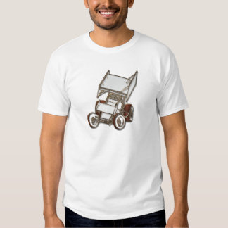 Winged Sprint Car White Colored T Shirt