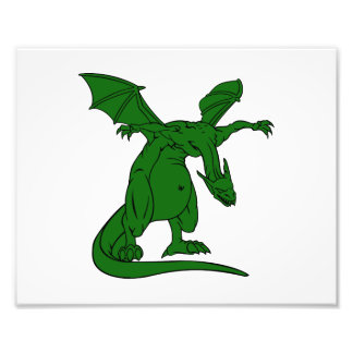 winged standing mean dragon green.png photographic print