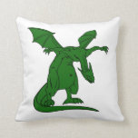 winged standing mean dragon green.png pillow