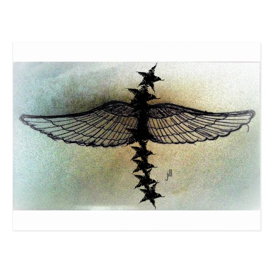 Winged Stars in flight, matte print by jill Postcard