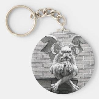 Winged Stone Gargoyle Basic Round Button Keychain