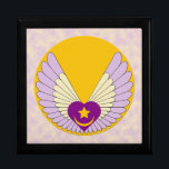"""Winged Sufi Heart Gift Box<br><div class=""""desc"""">This gift box,  available in two sizes and four colors,  features a purple Sufi heart with gold star and crescent surronded by yellow and lavendar wings atop a brilliant gold sun on a background of yellow and lavender clouds.</div>"""