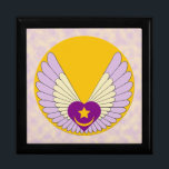 "Winged Sufi Heart Gift Box<br><div class=""desc"">This gift box,  available in two sizes and four colors,  features a purple Sufi heart with gold star and crescent surronded by yellow and lavendar wings atop a brilliant gold sun on a background of yellow and lavender clouds.</div>"