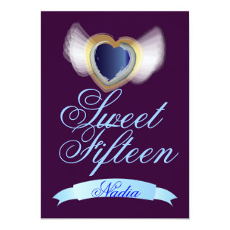 Winged Sweet Fifteen Heart-Customize 5x7 Paper Invitation Card