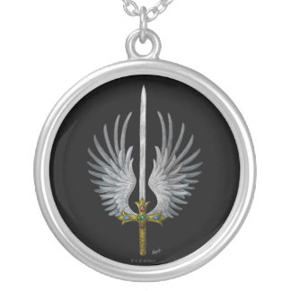 Winged Sword Round Pendant Necklace