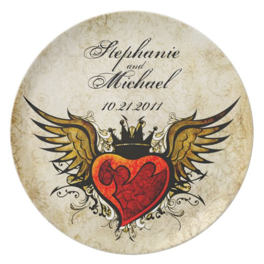 Memorial Tattoo Heart With Wings And Quote: Winged Tattoo Heart Wedding Date Memorial Plate