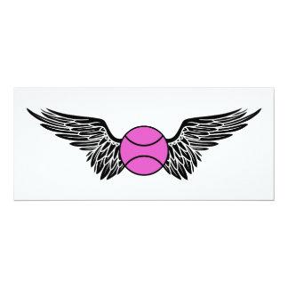 "winged tennis ball 4"" x 9.25"" invitation card"