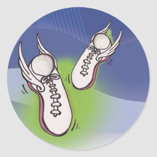 Winged Tennis Shoes Classic Round Sticker
