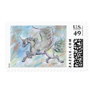 Winged Unicorn Flying Stamp