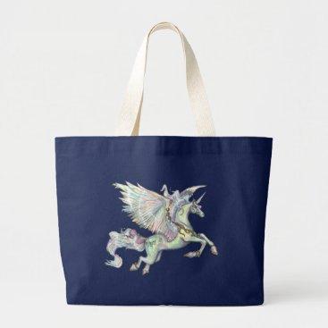 pegacorna Winged Unicorn Pegacorn Pegasus Winged Horse Large Tote Bag