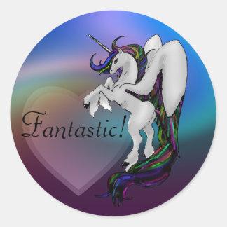 Winged Unicorn: Rainbow Classic Round Sticker