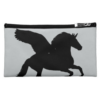 Winged Unicorn Silhouette Makeup Bag