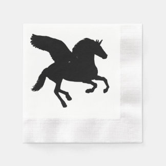 Winged Unicorn Silhouette Coined Cocktail Napkin