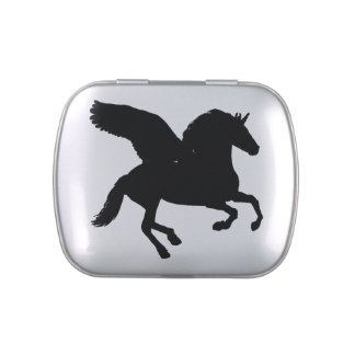 Winged Unicorn Silhouette Jelly Belly Candy Tin