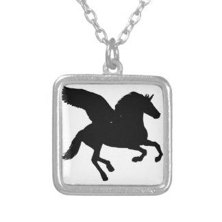 Winged Unicorn Silhouette Square Pendant Necklace