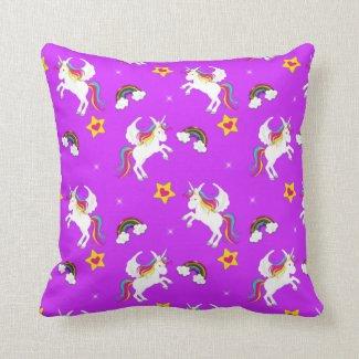 Winged Unicorns on Purple Throw Pillow