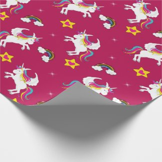 Winged Unicorns, Rainbows and Stars Wrapping Paper