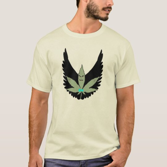 Winged Vampire straight edge nerdy pot leaf T-Shirt