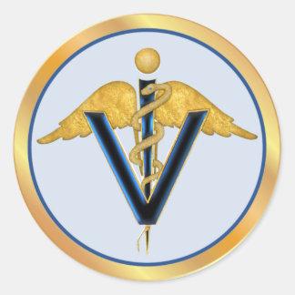 Winged Veterinary Caduceus Classic Round Sticker