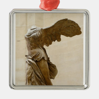 Winged Victory of Samothrace Square Metal Christmas Ornament