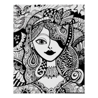 Winged Whimsy Color Your Own Zendoodle Poster