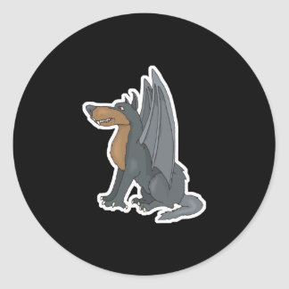winged wolf classic round sticker