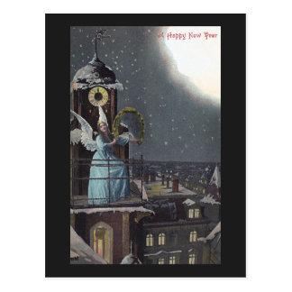 Winged Woman on Clocktower Vintage New Year Postcard