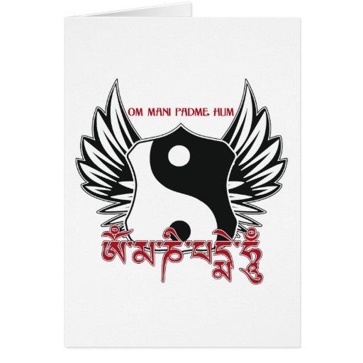 Winged Yin Yang Mantra Greeting Card