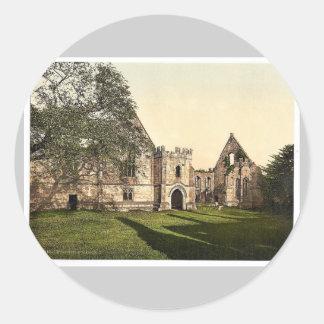 Wingfield Manor, II., Derbyshire, England rare Pho Round Stickers