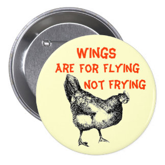 Wings are for Flying Not Frying Pinback Buttons