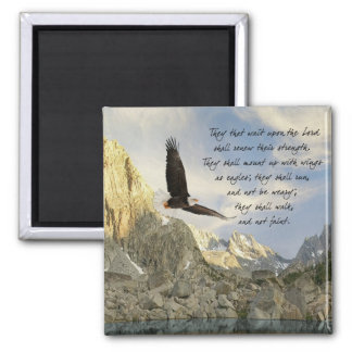 Wings As Eagles Isaiah 40:31 2 Inch Square Magnet