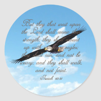 Wings as Eagles, Isaiah 40:31 Christian Bible Classic Round Sticker
