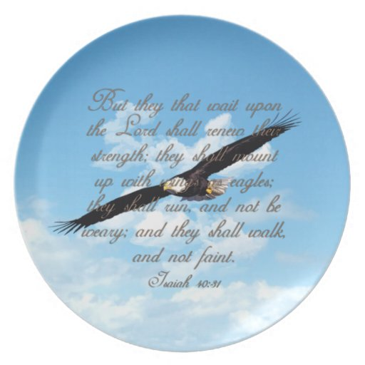 Wings as Eagles, Isaiah 40:31 Christian Bible Dinner Plate