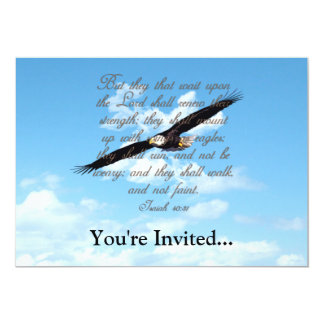 "Wings as Eagles, Isaiah 40:31 Christian Bible 5"" X 7"" Invitation Card"