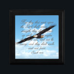 "Wings as Eagles, Isaiah 40:31 Christian Bible Jewelry Box<br><div class=""desc"">Christian religious Bible verse gifts for men, women or any Church member or Pastor. Inspirational verse from Isaiah 40:31... But they that wait upon the LORD shall renew their strength; they shall mount up with wings as eagles; they shall run, and not be weary; and they shall walk, and not...</div>"