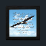 """Wings as Eagles, Isaiah 40:31 Christian Bible Jewelry Box<br><div class=""""desc"""">Christian religious Bible verse gifts for men, women or any Church member or Pastor. Inspirational verse from Isaiah 40:31... But they that wait upon the LORD shall renew their strength; they shall mount up with wings as eagles; they shall run, and not be weary; and they shall walk, and not...</div>"""