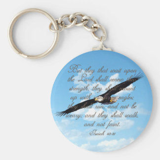 Wings as Eagles, Isaiah 40:31 Christian Bible Keychain