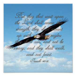Wings as Eagles, Isaiah 40:31 Christian Bible Poster