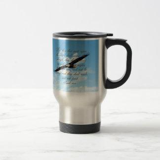 Wings as Eagles, Isaiah 40:31 Christian Bible Travel Mug