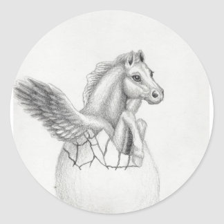 'Wings' Baby Pegasus, Flying Horse Collection Gree Classic Round Sticker