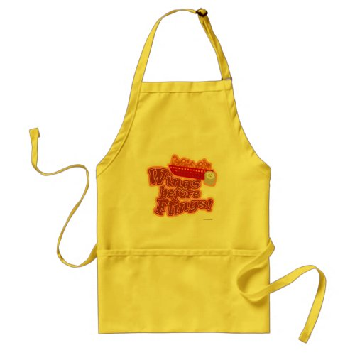 Wings Before Flings Chicken motto Adult Apron