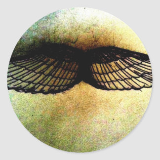 wings by jill high contrast print classic round sticker