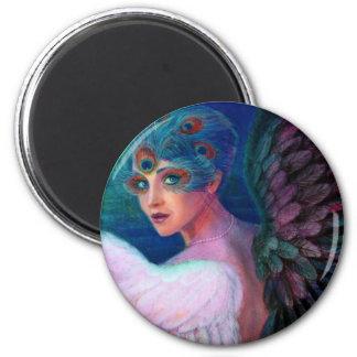 Wings del pavo real de señora de la dualidad imán redondo 5 cm
