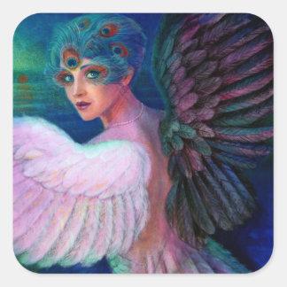 Wings del pavo real de señora de la dualidad pegatina cuadrada