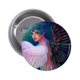 Wings del pavo real de señora de la dualidad pin redondo de 2 pulgadas