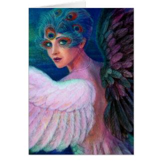 Wings del pavo real de señora de la dualidad tarjeta de felicitación