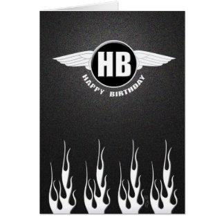 Wings & Flames : Biker Birthday Greeting Card