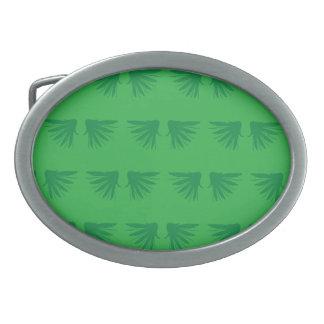 Wings Green Oval Belt Buckle