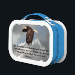 """WINGS LIKE EAGLES LUNCH BOX<br><div class=""""desc"""">A soaring eagle reminds us of the promise of Isaiah 40:31.</div>"""